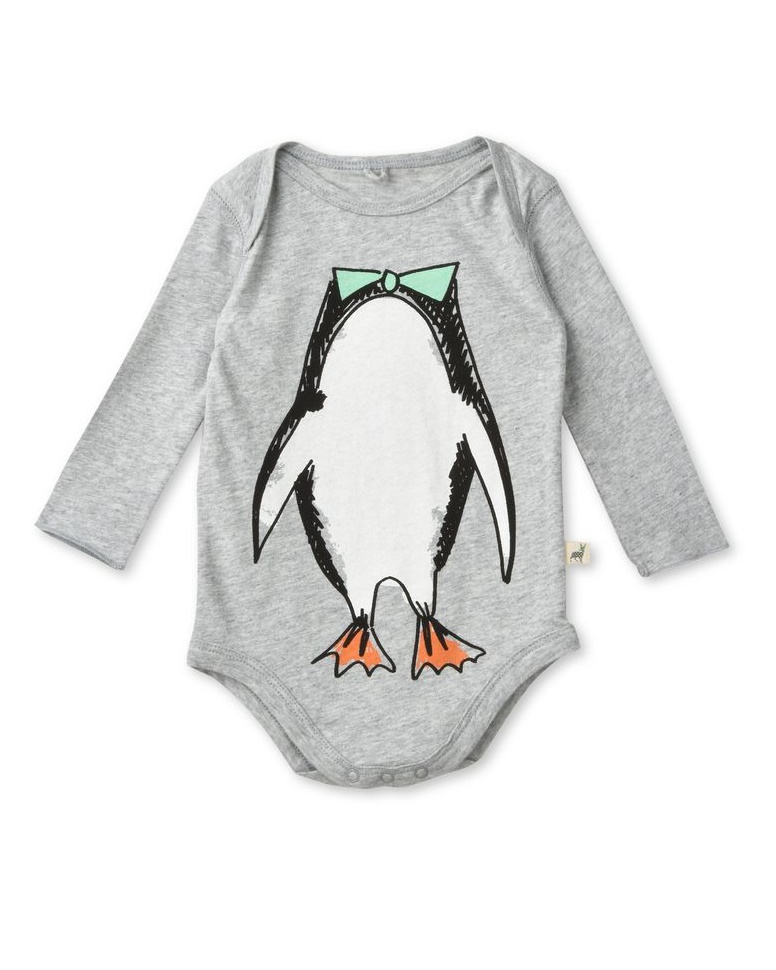 Binky Grey Penguin Bodysuit Baby Stella Mccartney