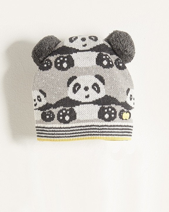 Ping Grey Knitted Panda Pompom Hat The Bonnie Mob Mylittleceleb