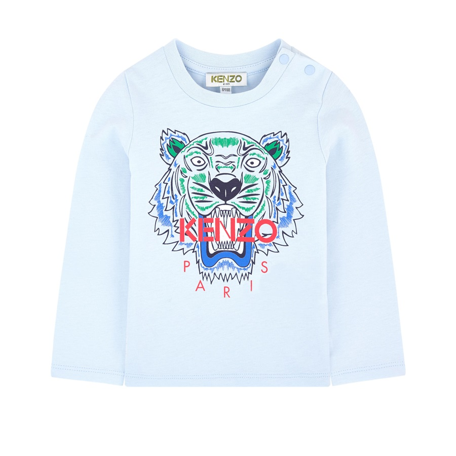 Kenzo Baby Boys White Sweater With Green And Blue Jungle Print